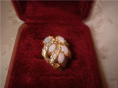 Ladies Genuine Australian 5 Opal Cluster Ring Size 6.5 NIB