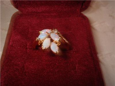 Ladies Genuine Austailian 5 Opal Cluster Ring Size 6.5 NIB