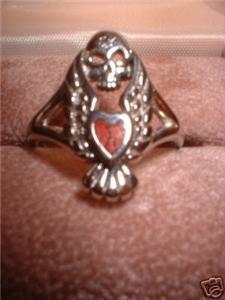 Harley Biker Coral Inlay Skull Heart Ring NIB
