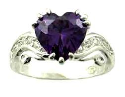 Ladies Sterling Silver Russian CZ Heart Amethyst Ring NIB