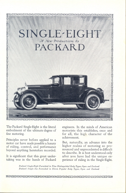 Superb 1923 Packard Single-Eight vintage car print ad