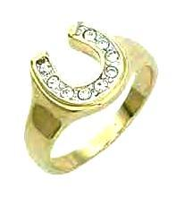 Ladies Swarovski Crystal Ladies Dainty Horseshoe Ring NIB