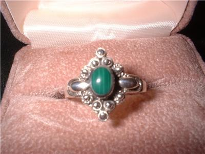 Ladies Sterling Silver Malachite Size 10 Ring NIB