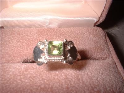Ladies Sterling Silver Peridot Ornate Ring Size 7 NIB