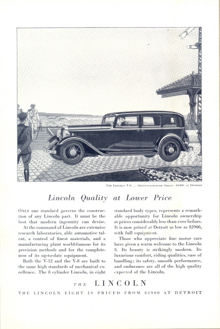 1932 Lincoln V-8 Seven Passenger Sedan Car print ad