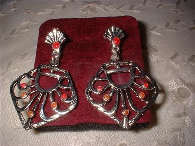 Ornate Imitation Sapphire & Jasper Earrings 2 Pair