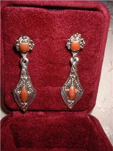 Ornate Imitation Onyx & Jasper Dangle Earrings 2 Pair