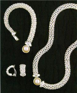 Silver Mesh Jewelry Set 3 Pcs New