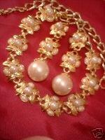 Ornate Imitation Pearl Necklace & Earrings Glamorous