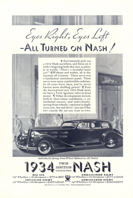 1934 NASH Twin Ignition Ambassador Eight print ad