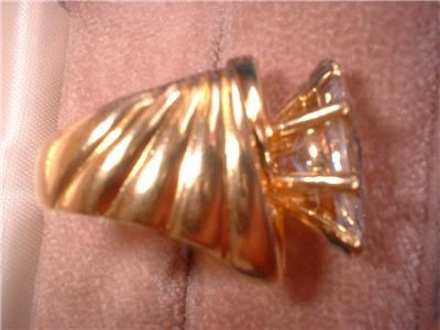 Ladies Huge Marquise CZ Gold Over Sterling Size 6 Ring NIB