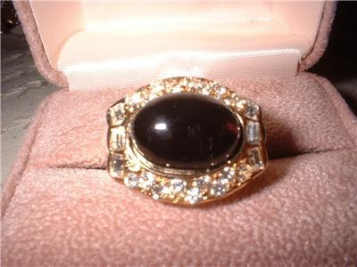 Ladies Jet Black Large Setting GP Ring NIB