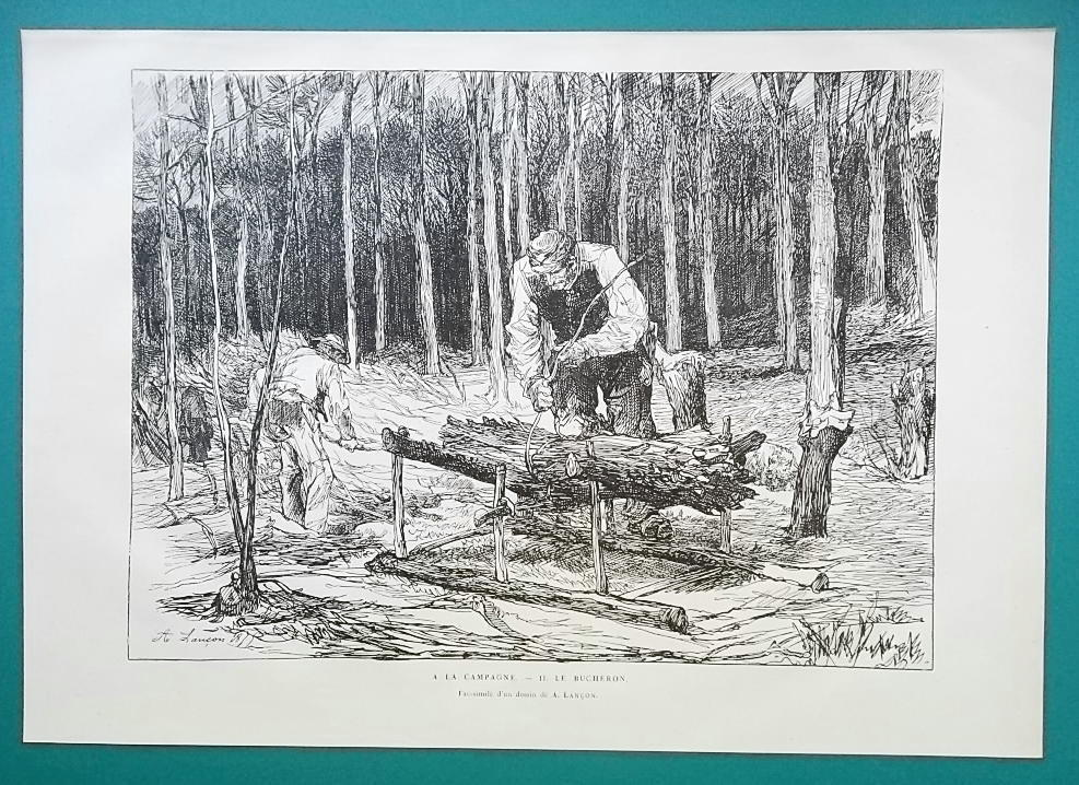 WOODCUTTERS in Forest - 1876 Antique Print