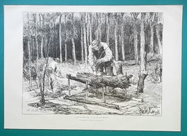 WOODCUTTERS in Forest - 1876 Antique Print - $12.60