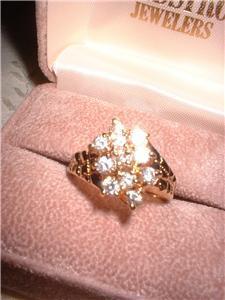 Ladies Sparkling CZ 11 Stone Cluster Ring NIB