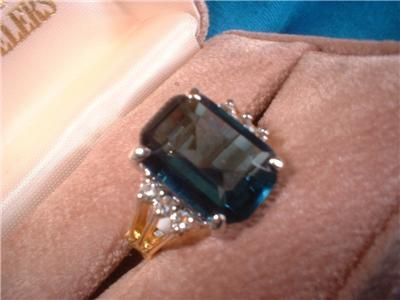 Ladies Large Russian CZ Sapphire Ladies Ring NIB
