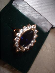 Ladies CZ Sapphire Ring Beautiful Marquise Setting NIB