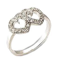 Ladies Swarovski Crystal Joined Hearts Friendship Ring NIB
