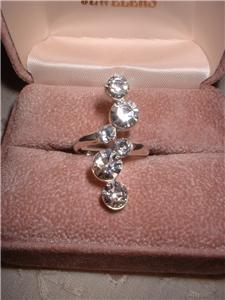 Ladies Russian CZ Imitation Diamond Journey Ring NIB