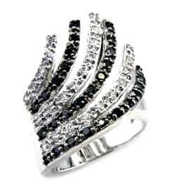 Ladies Elegant Russian CZ Clear & Black Swirl Ring NIB
