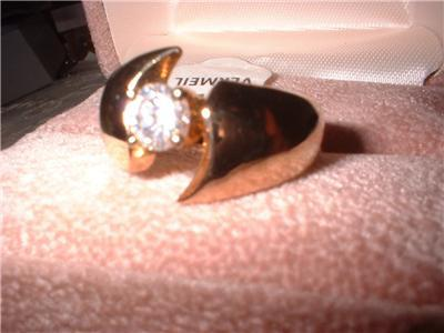 Ladies Solitaire CZ Ring Gold Over Sterling NIB