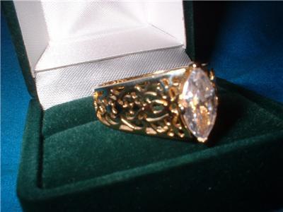Ladies Marquise CZ Filigree .925 Ring Size 10 NIB