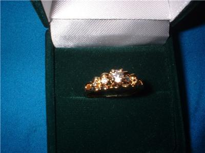Ladies Vermeil Gold Over Sterling Tiny CZs Ring Size 6.5 NIB