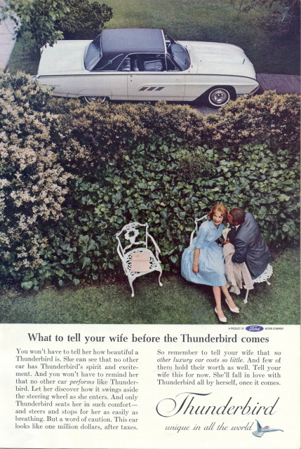 1962 Ford THUNDERBIRD HARDTOP sweet couple print ad