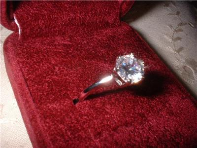 Ladies Sterling Silver Russian Cubic Zirconia Engagement Rin