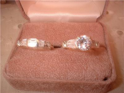 Ladies Elegant Russian CZ Wedding Set Sterling Sz 9
