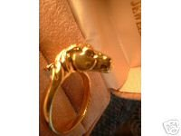 Mustang Horse Head Detailed Gold Overlay Ring NIB