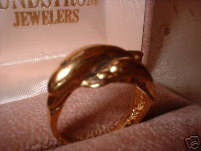 Ladies Porpoise Dolphin Gold Overlay Ring Sz 7.5 NIB