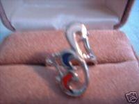 Ladies Red White & Blue Modern Design Epoxy Inlay Ring N