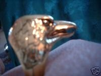 Eagle Head Gold Overlay Ring NIB