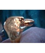 Eagle Head Gold Overlay Ring NIB - $14.00
