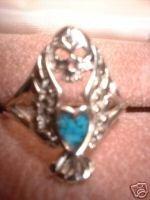 Harley Biker Turquoise Skull Heart Ring NIB