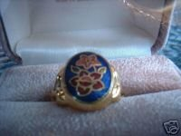 Ladies Genuine Royal Blue Cloisonne GP Ring Size 9.5 NIB