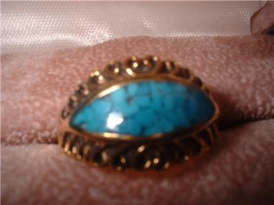 Ladies Turquoise Eye Inlay Design Antique Finish Ring NIB