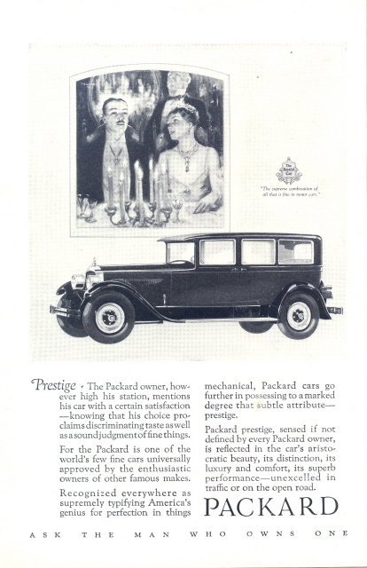1926 Packard candle light couple graphic art print ad