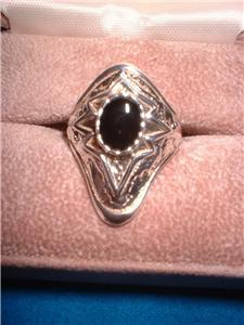 Ladies Sterling Silver Genuine Onyx Ring Size 9 NIB