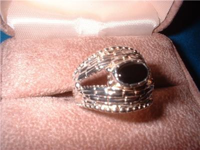 Ladies Sterling Basket Weave Onyx Ring Size 8 NIB