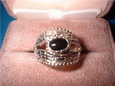 Ladies Sterling Basket Weave Onyx Ring Size 8 NIB