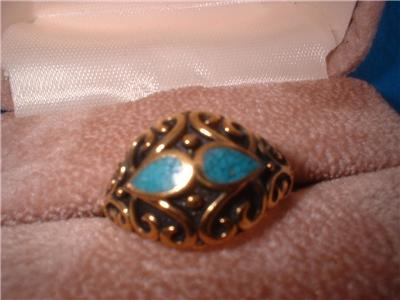Ladies Turquoise Tear Drop Inlay Antique Finish Ring NIB