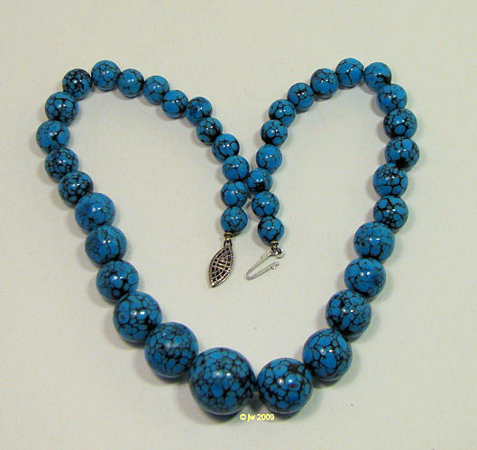 Vintage Spiderweb Turquoise Necklace Graduated Beads