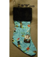 Handmade Blue Cartoon Pirate w/ Black Faux-Fur Holiday Christmas Stockin... - $12.99