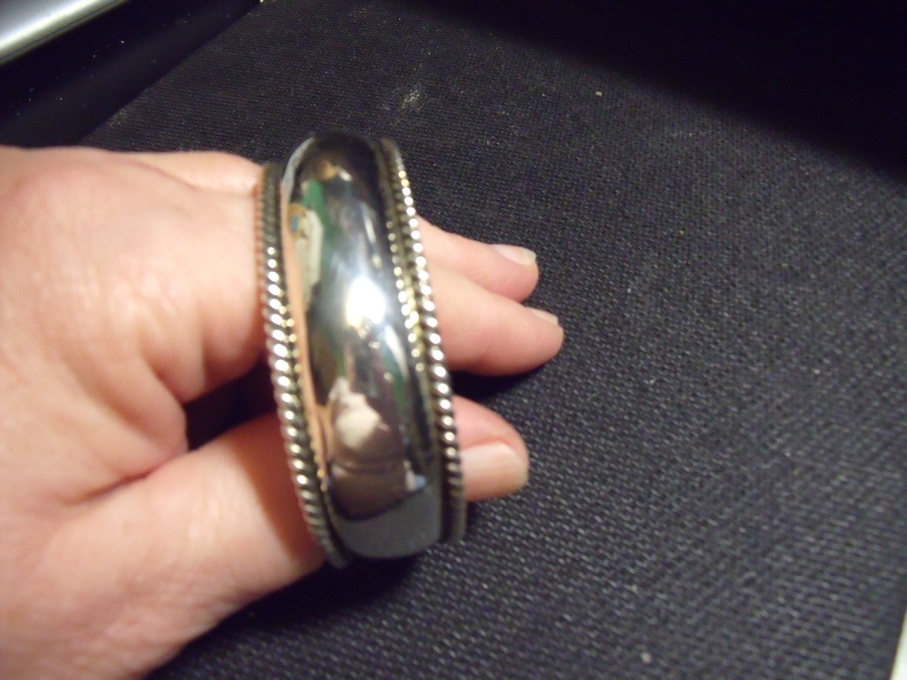 Sterling silver cuff bracelet with beaded trim