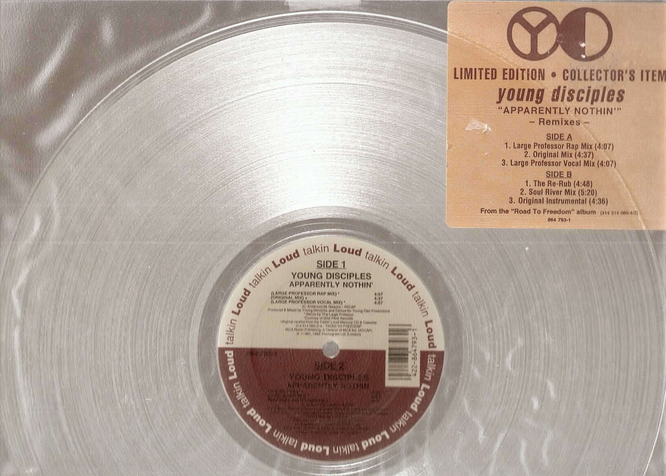 LP--Apparently Nothin' limited edition clear vinyl-- Young Disciples