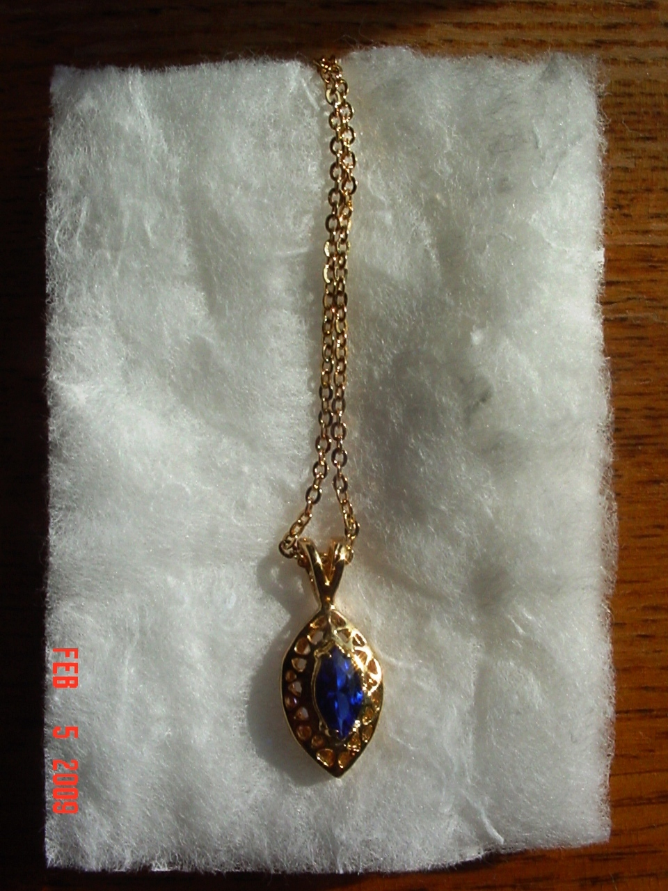 14 Karat Gold Plated Blue Stone Pendant Necklace