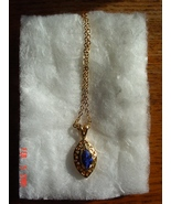 14 Karat Gold Plated Blue Stone Pendant Necklace - $5.00