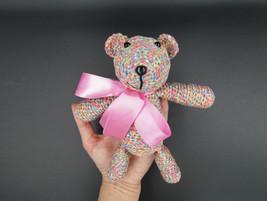 Handmade teddy bear - crochet rainbow teddy doll - knit stuff bear - cot... - $15.70
